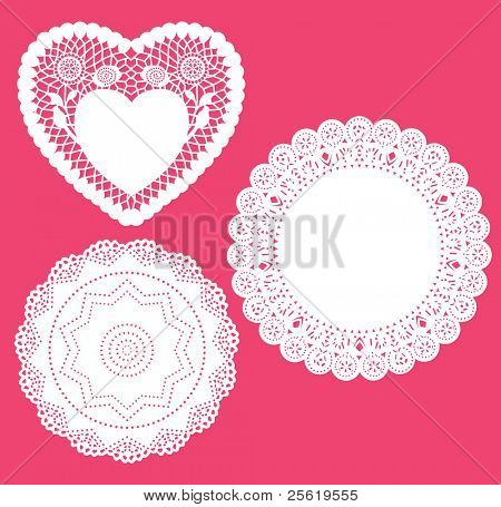 Set for round and heart shape lace doily. Vector illustration.
