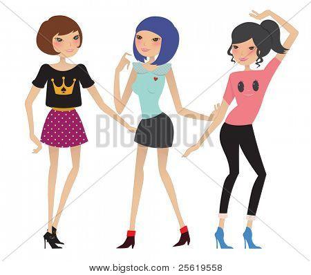 Beautiful Fashion Girls Dancing. Vector Illustration.