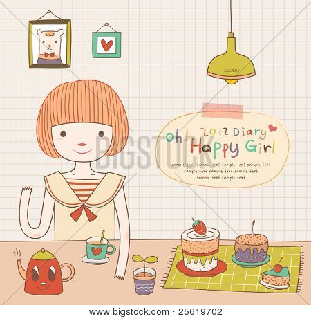 Cute Girl is having a tea time party. Lovely Diary. Girlish Design.