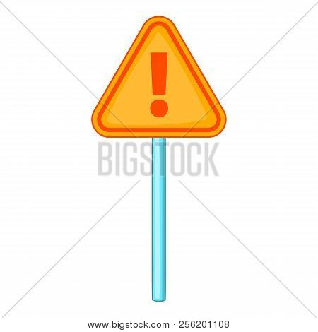 Hazard Warning Attention Sign With Exclamation Mark Icon. Cartoon Illustration Of Warning Attention