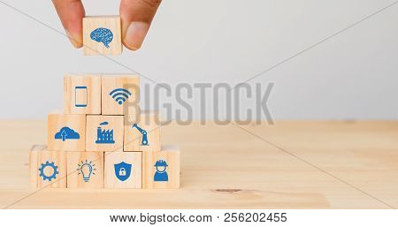 Smart Factory, Industry 4.0 Futuristic Technology Trend Concept, Hand Man Put The Icon To Connect, I