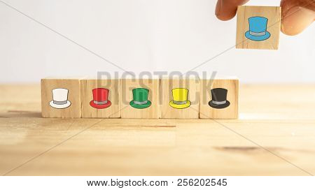 Six Thinking Hats Concept, The Success Way To Under The Human Wear Which Hat When Talking About, The