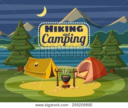 Camping Concept. Cartoon Illustration Of Camping Concept For Web