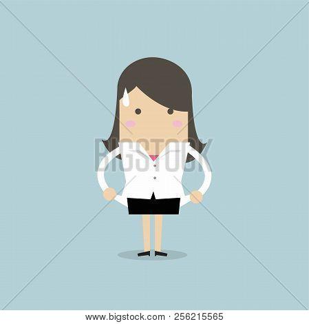 Businesswoman has no money totally broke. vector poster