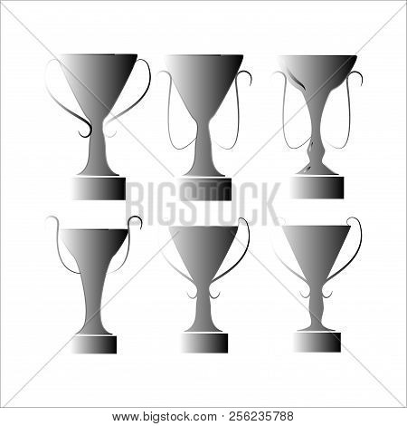 Cup Award Silver Set. Modern Symbol Of Victory, Award Achievement Sport. Insignia Ceremony Awarding