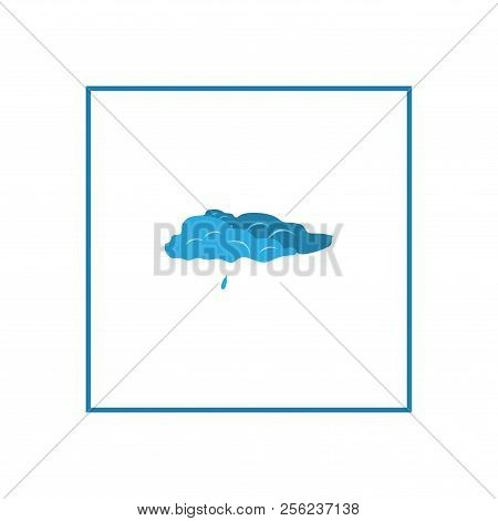 Light Rain. Weather Icon In Square. Meteorology Symbol Minor Precipitation. Isolated Icon Small Fall