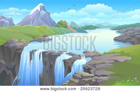 BEAUTIFUL MOUNTAIN SIDE  RIVER TURNING INTO A  WATERFALL