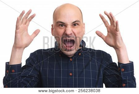Bald man with shock expression. Surprised middle aged guy isolated on white