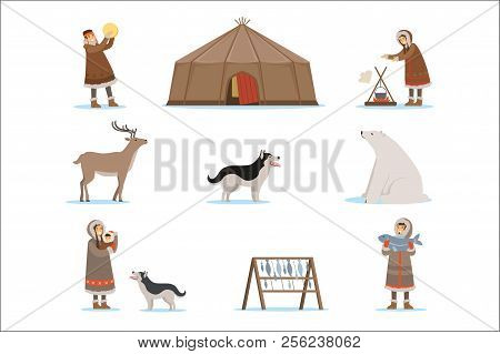 Eskimo Characters In Traditional Clothing, Arctic Animals, Igloo House. Life In The Far North. Set O