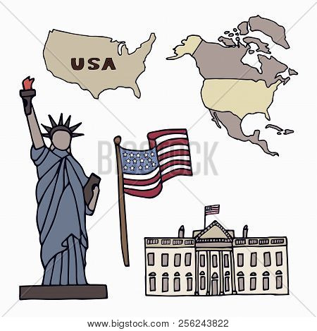 Map Of The United States Of America And The Symbols Of America. North America, Flag,  Statue Of Libe