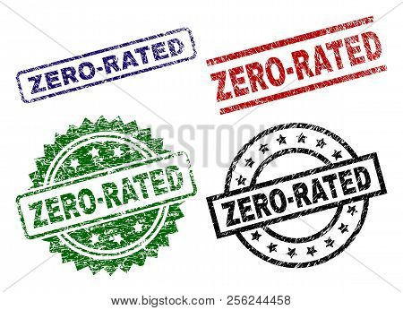 Zero-rated Seal Prints With Corroded Surface. Black, Green, Red, Blue Vector Rubber Prints Of Zero-r
