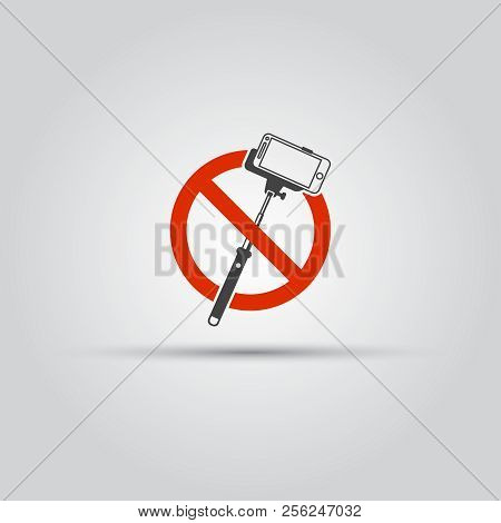 No Selfie Sticks Isolated Vector Icon, Do Not Use Monopod For Selfie Prohibited Sign