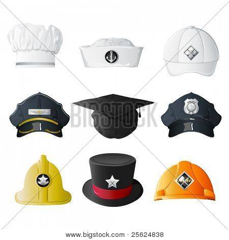 illustration of set of hat from different professions on isolated background poster