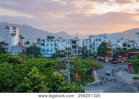 Nha Trang, Vietnam - August 30, 2018: The Beautiful Sunset Sky Over The City On August 30, 2018 In N