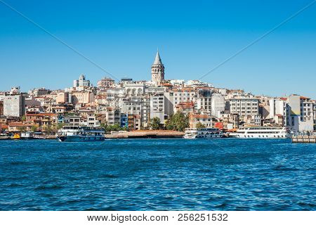Beautiful View Of The Golden Horn And The Galata Tower, Istanbul, Turkey