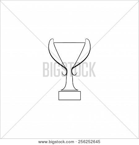 Cup Award Sign. Modern Symbol Of Victory, Award Achievement Sport. Insignia Ceremony Awarding Of Win