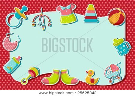 illustration of set of item related to baby on abstract background