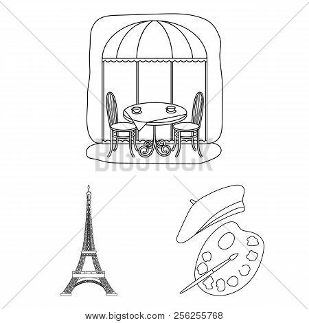 Country France Outline Icons In Set Collection For Design. France And Landmark Vector Symbol Stock W
