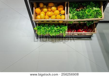 Healty Fruits And Vegetables Bazar. Fresh Looking Vegetables In Store With Copy Space On Ground.