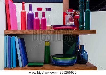 Colorful Books In Shelf. Interior Concept Design