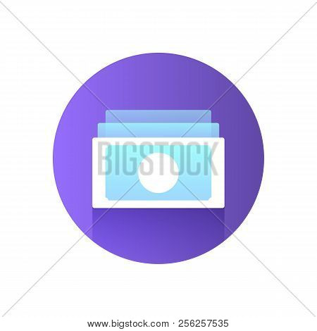 Paper Money Icon. Modern Blue Icon With Gradient. Image For The Site Of Financial Services. Vector I