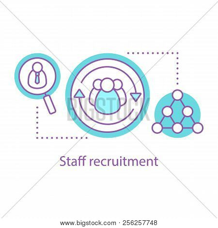 Staff Recruitment Concept Icon. Hiring. Personnel Management Idea Thin Line Illustration. Sociology.