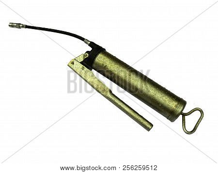 Syringe for lubrication. Close-up. Isolated on white background. poster
