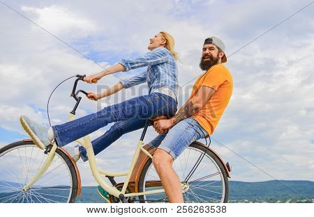 Man And Woman Rent Bike To Discover City As Tourist. Bike Rental Or Bike Hire For Short Periods Of T