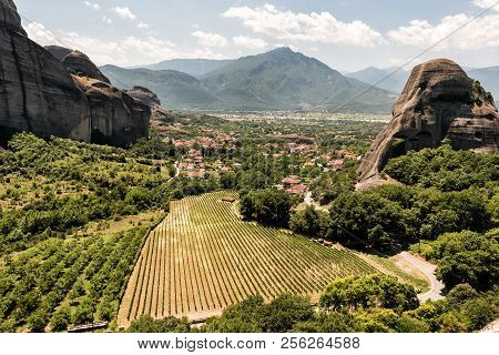 Meteors Or Meteora Monastery Vineyards With The View Of Kalabaka And Kastraki Villages, Thessaly, Gr