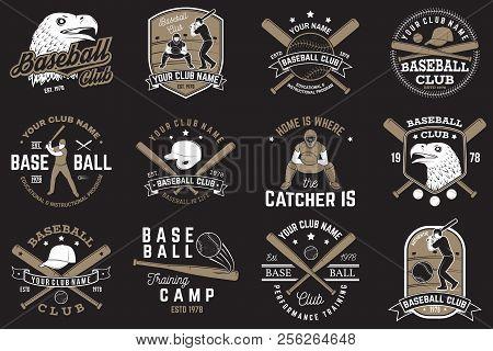 Set Of Baseball Or Softball Club Badge. Vector Illustrator. Concept For Shirt Or Logo, Print, Stamp