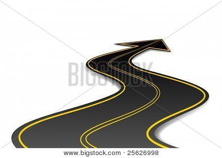 illustration of asphalt road in shape of arrow