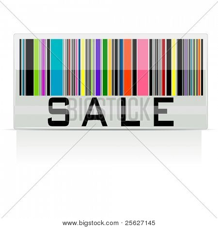 illustration of colorful bar code showing sale on white background