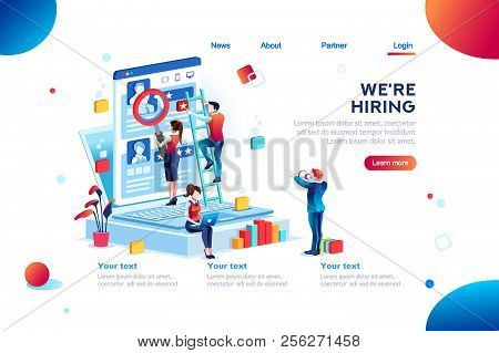 Social Presentation For Employment. Infographic For Recruiting. Web Recruit Resources, Choice, Resea