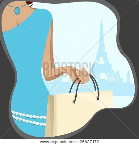 illustration of lady with shopping bag on eiffel tower on backdrop poster