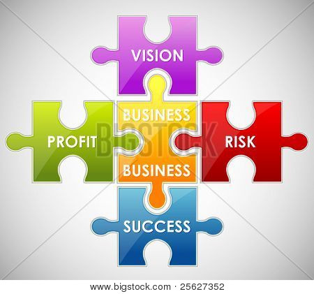 illustration of piece of jigsaw puzzle showing business content
