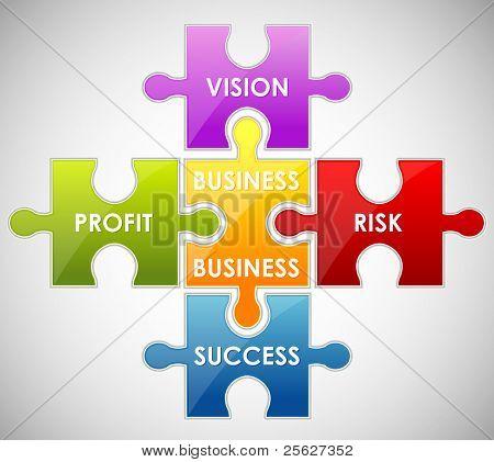 Abbildung Stück des Puzzlespiels Business-Inhalte anzeigen