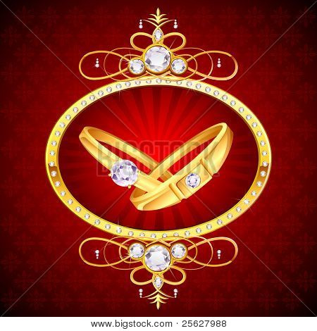 illustration of pair of engagement ring on decorated background background
