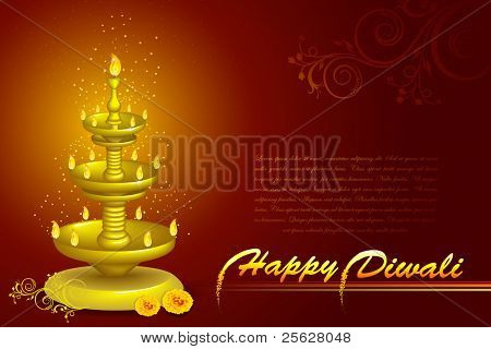 illustration of diwali diya stand with flower decoration