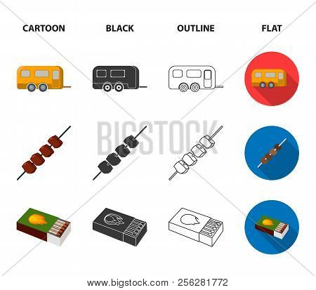 Trailer, Shish Kebab, Matches, Compass. Camping Set Collection Icons In Cartoon, Black, Outline, Fla