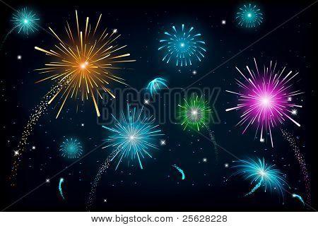 illustration of colorful fire cracker blast in sky