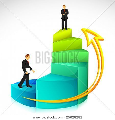 illustration of businessman standing on bar graph on abstract background poster