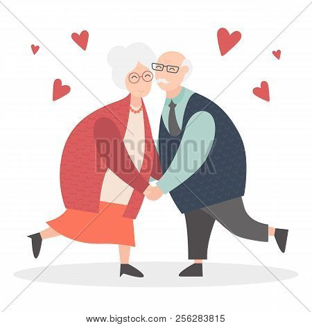 Grandparents Are Together Forever In Love. Happy Grandparents Day. Vector Cartoon Illustration. Gran