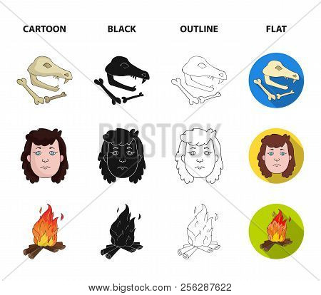Woman, Hair, Face, Bonfire .stone Age Set Collection Icons In Cartoon, Black, Outline, Flat Style Ve