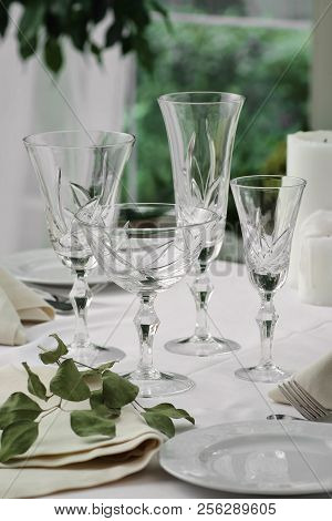 Crystal Glasses On The Table In The Restaurant Table Setting