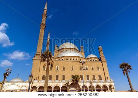 Image Of The Facade Of The Alabaster Mosque, Also Known As Muahmmad Ali In The City Of Cairo