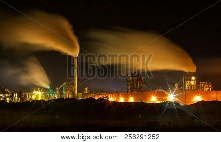 Atmospheric Air Pollution From Industrial Smoke Now. Pipes Steel Plant. Thick Smoke And Steam Of Mdf