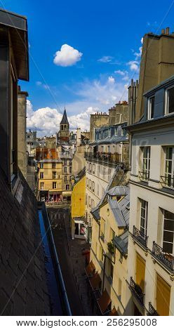 Beautiful View From The Roof Of The Old Building On The Architecture Of Paris, Medieval Tower Benedi