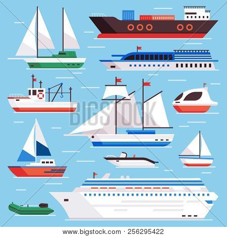 Flat Sea Ships. Marine Shipping Sailing Boat, Ocean Cruise Liner And Icebreaker Ship Vector Set