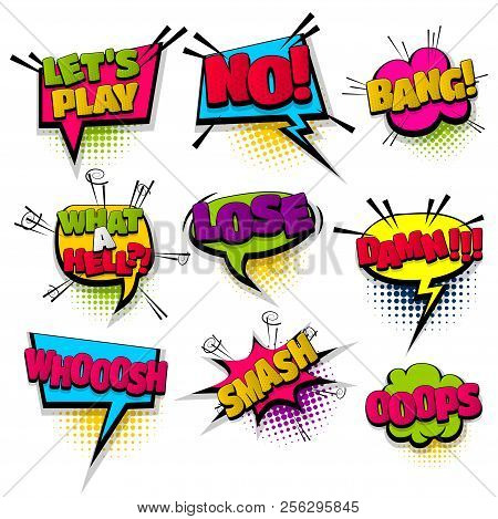 Bang No Smash Oops Set Hand Drawn Pictures Effects Template Comics Speech Bubble Halftone Dot Backgr