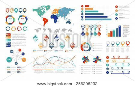 Flat Infographic Elements. Presentation Chart Element, Percent Graph Banner And Infograph Flowchart.